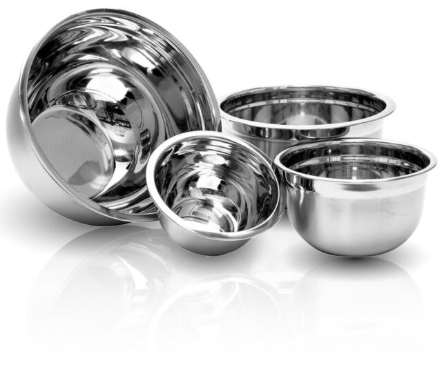 Stainless Steel Euro Mixing Bowl Set   4 Nested Deep Kitchen German Mixing  Bowls
