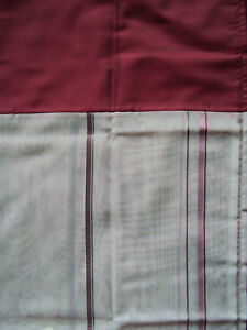 2-Vorhaenge-Gardinen-Deko-Schal-flieder-weiss-Blende-rot-Schlaufen-B-H-140-x-225