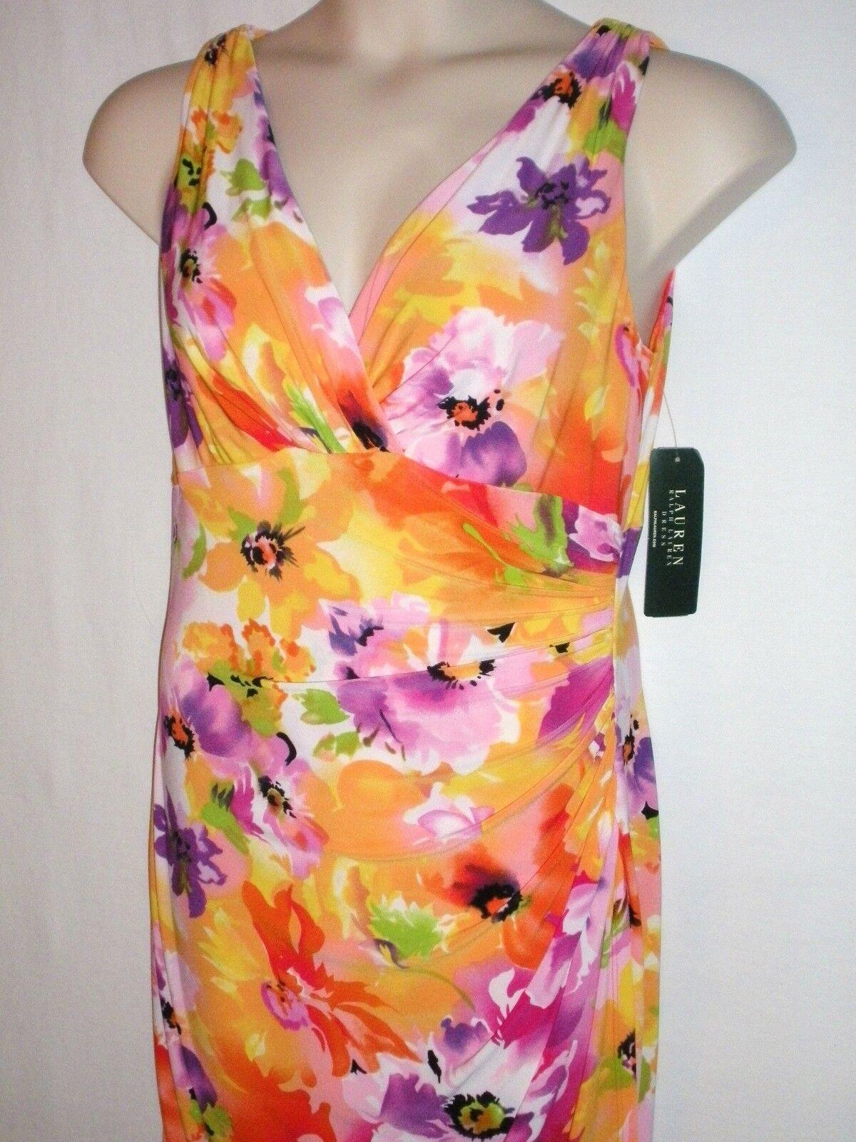 NWT LAUREN RALPH LAUREN Women's Spring Floral Dress, Multi Coral, Size 10,