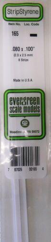 "Evergreen Strip Styrene 165 8 x .080 x.100/"" Strips"