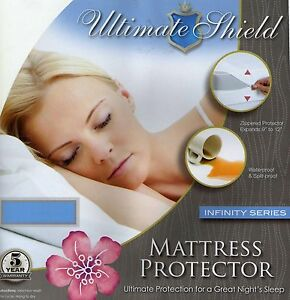 Cotton Zippered Mattress Cover ... -Relief-Waterproof-Mattress-Cover-Protector-Cotton-Top-All-Sizes
