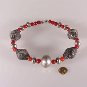 8139-Halskette-alte-Reed-Glasperlen-Terrakotta-und-Metallperlen