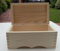 PLAIN WOODEN CHEST JEWELLERY STORAGE BOX FOR ART CRAFT / PAINTING / DECOUPAGE..