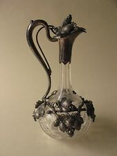 "Sterling Silver Overlay CLARET WINE cut crystal Glass DECANTER BOTTLE 13"" grapes"