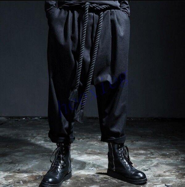 Mens Korean Drape Drop Credch Harem Pants Loose Hip Hop Long Baggy Trousers US38
