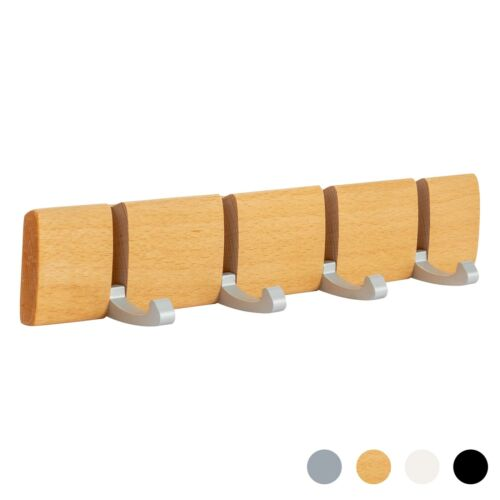 Wooden Coat Rack 4 Hook Wall Mounted Folding Clothes Hanger Hooks Brown