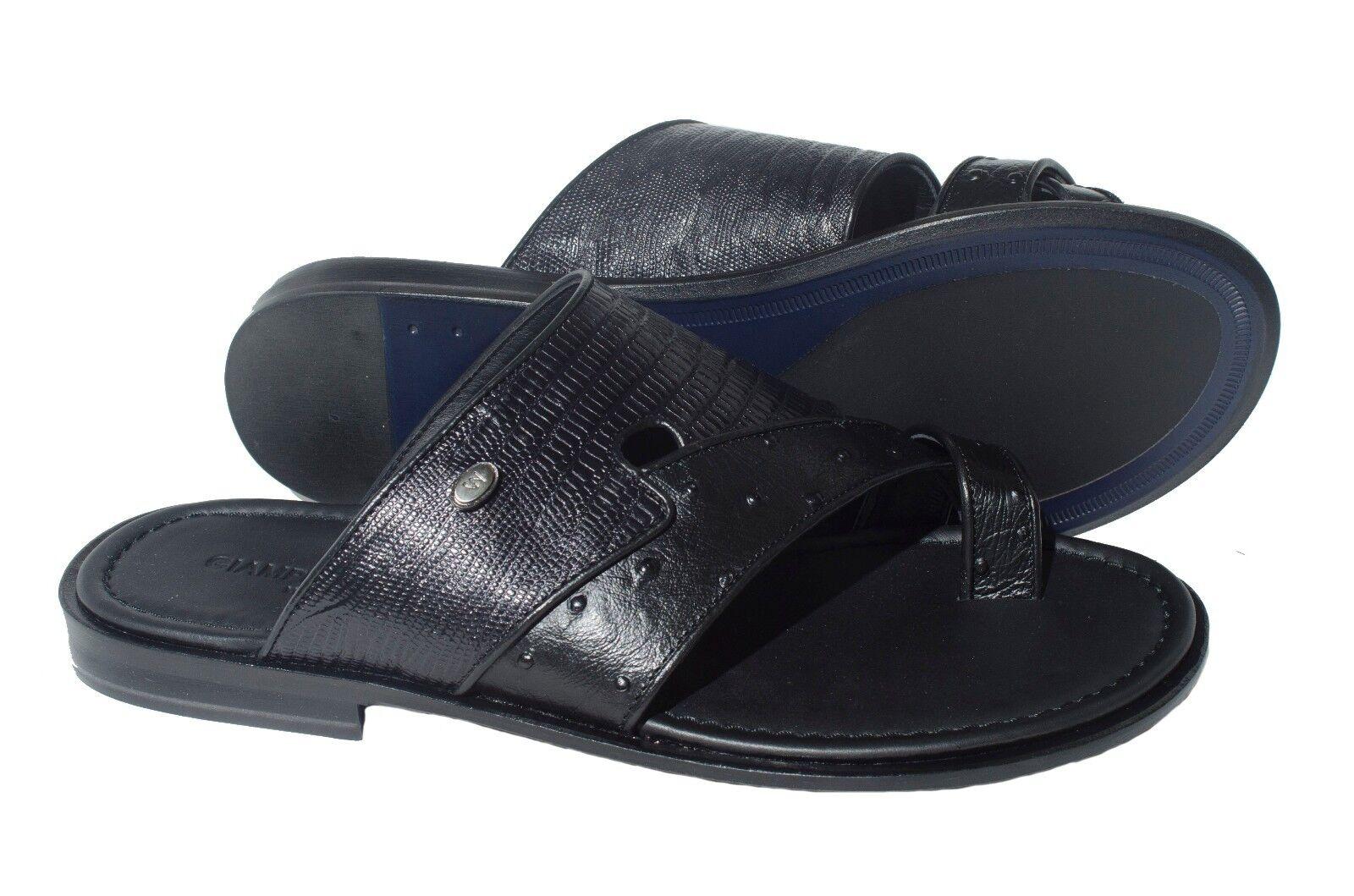 Impresión negro de cuero para hombre Giampieronicola 5005 Push-en-Toe Sandalias