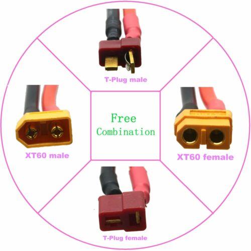 1Pce T-Plug Deans to XT60 Parallel Y Splitter 12AWG 10cm For Car Plane Lipo