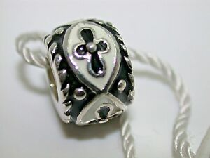 .925 STERLING SILVER EUROPEAN PORCELAIN WHITE SQUARE FLOWER CHARM NEW TAGS