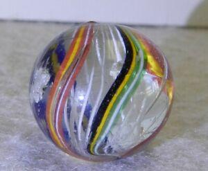 10158m-Vintage-German-Handmade-White-Latticino-Swirl-Marble-78-Inches