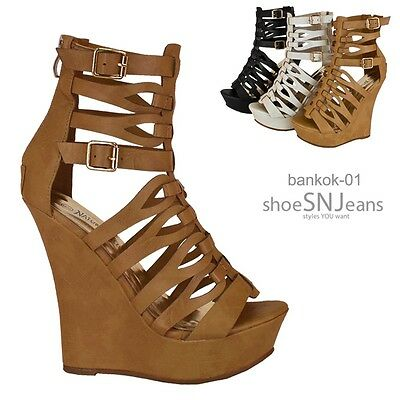 New Strappy Gladiator Wedge Zipper Sandal Adjustable Buckle Caged Platform Heel