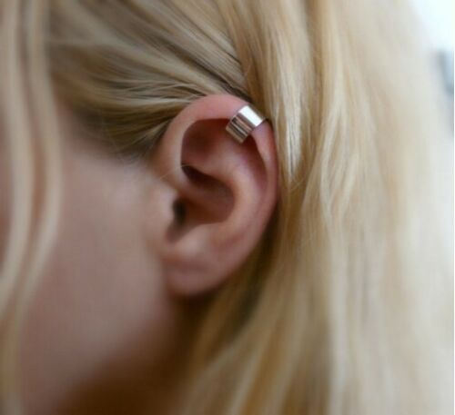 top bone ear cuff solid band silver clip on earring non-pierced  gift simple UK