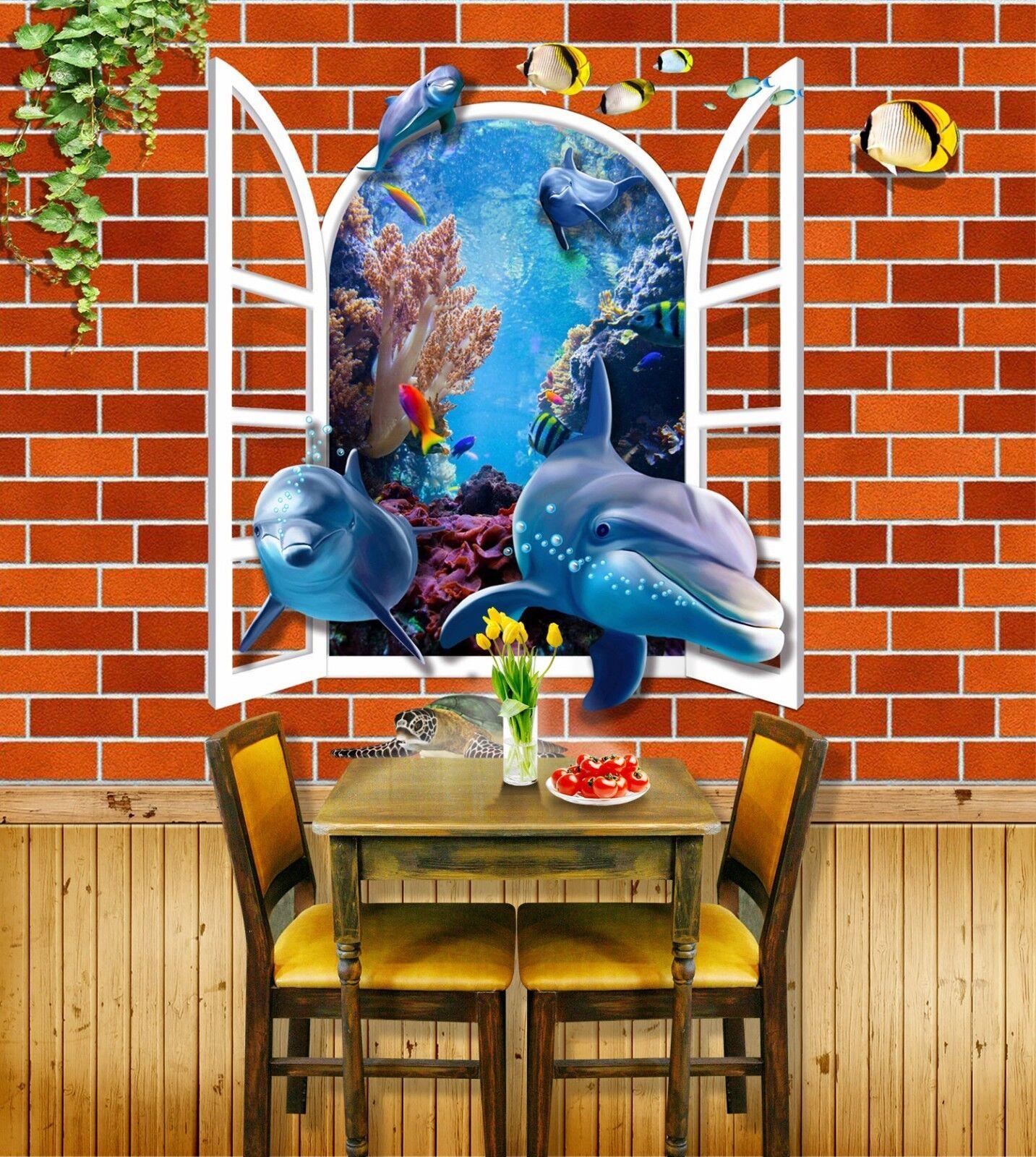 3D Delphin Fenster Wand 8083 Tapete Wandgemälde Tapeten Bild Bild Bild Familie DE Jenny   Deutschland Online Shop    Online einkaufen    Zürich  e4aaf0