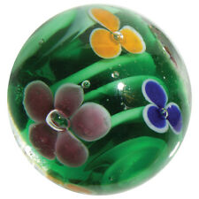 "22mm WATER LILY Pink Green Orange Flower Handmade art glass Marble 7/8"" SHOOTER"