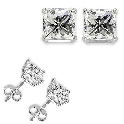 0.50 Carat Princess White CZ 925 Silver White Gold Plated Women Unisex Earrings