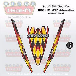 2004 Ski-doo Rev MXZ800HO Black Hood Panel Reproduction Vinyl Decal Set 3Pc DPM