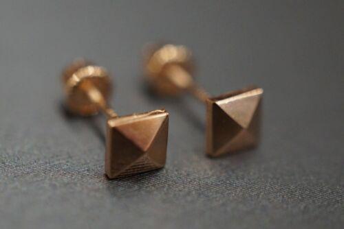 14K Solid or Rose Femmes Enfants 4 mm Pyramide Cut 3D Carré Vis Retour boucle d/'oreille.