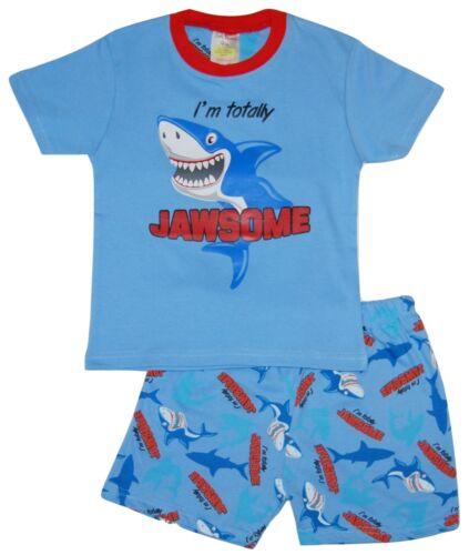Boys Pyjamas T Shirt Short Set Totally Jawsome Sharks Design Pajamas Sleepwear