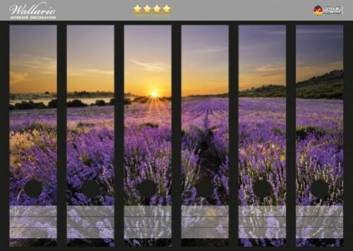Wallario Ordnerrücken selbstklebend für 6 breite Ordner Sonnenuntergang Lavendel