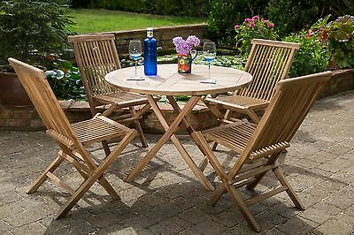 Shenley Teak Dining Table & 4 Chairs Garden Furniture Set Free Delivery
