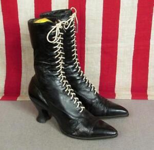 Victoriano Vintage Para Botas Estilo Mujer Cordones Con Negro Cuero q5ARc3j4L
