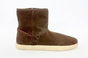 a021f03e612 Details about UGGS Ugg Kids Rye Brown Leather Suede Shearling Zip Boots  Calf Booties 5