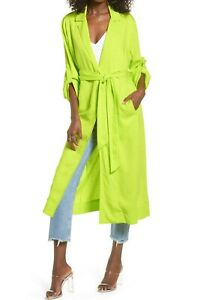 AFRM Hendrix Duster Jacket NWT Small Lime Green Belted Roll Tab Long Coat Womens