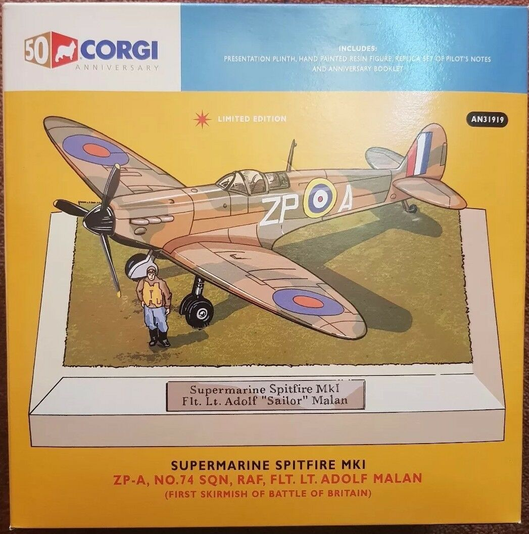 Corgi Aviation Supermarine Spitfire MkI  No.74 Sqn Flt Lt Adolf Malan AN31919
