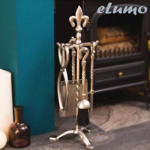 5pc-Fuoco-Camino-Compagno-Set-Peltro-STRUMENTI-ARGENTO-elegante-Home-Regalo