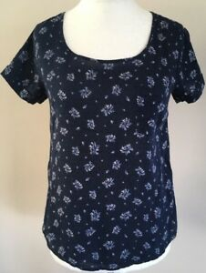 Ladies-Fat-Face-Navy-Floral-Summer-Top-T-Shirt-Size-8