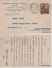 # MILANO: testatina-  MAGLIFICIO VILLA  di VILLA PIERO -maglierie  1938