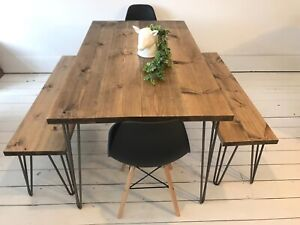 Artemis Handmade Hairpin Leg Dining Table Two Benches Two Chairs Industrial Ebay