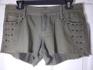 Decree-Juniors-Green-Mini-Studded-Denim-Shorts-Size-11-Cute
