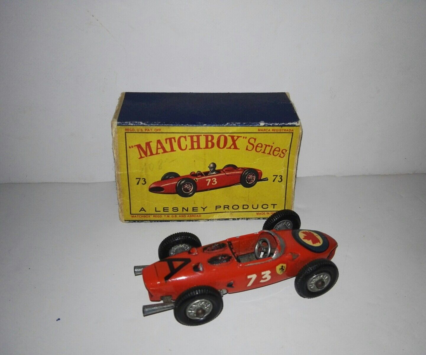 Matchbox Series 73b Ferrari F1 by Lesney with original box 1963 rare