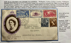 1953-Wellington-New-Zealand-First-Day-Cover-Queen-Elizabeth-II-Coronation-QE2-B