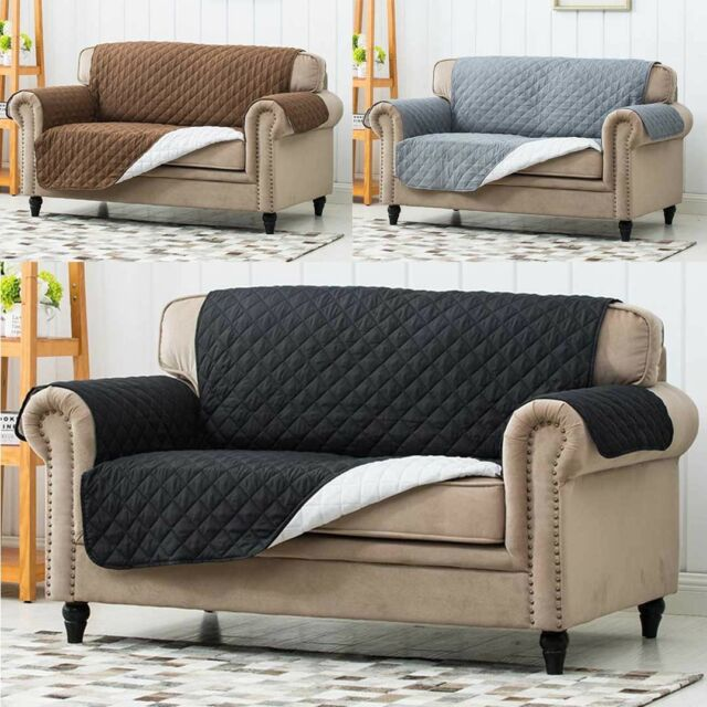 Luxury Quilted Reversible Sofa Protector Throw Cover Waterproof 1 2 3 Seater & Reversible Quilted Sofa Cover Throw Protector Bed Settee Chair ...