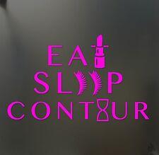 eat sleep contour makeup girl lipstick sticker JDM race car window pink decal