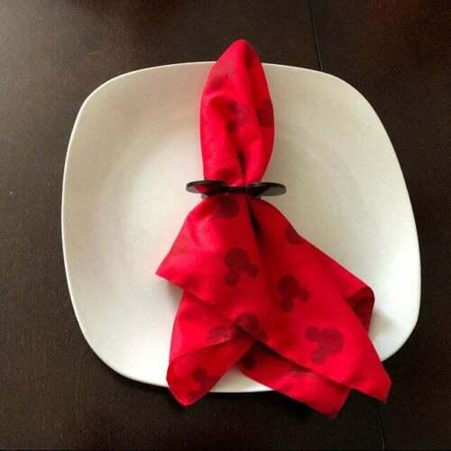 Mickey Mouse Head Acrylic Napkin Rings Holders Disney Theme Birthday Party Decor