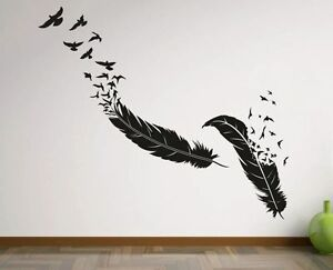 wandtattoo wandaufkleber aufkleber schlafzimmer tattoo vogel feder v gel m we 54 ebay. Black Bedroom Furniture Sets. Home Design Ideas