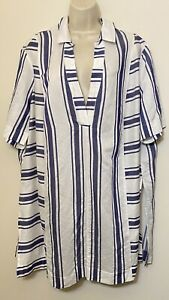 NWT Asos Size 16 Tunic Top White & Blue Short Sleeve Collared V-Neck Relaxed Fit