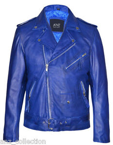 Men's Jacket Leather Designer Fitted Blue Brando Biker Fit Lambskin Tailor Real Ewq4B