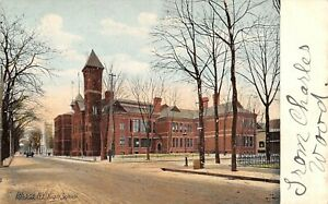 Ithaca-New-York-High-School-Wagon-Down-Street-Iron-Fence-Across-Road-1907-PC