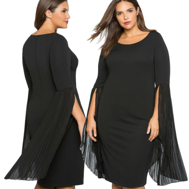 Black Pleated Flare Sleeve Plus Size Sexy Slim Office Formal Party Evening Dress