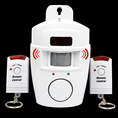 105dB Home Security Wireless IR Motion Sensor Alarm System With 2 Remote Control