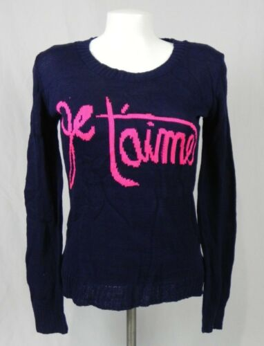 NEW Deb Navy Blue /& Pink French /'Je Taime/' Crew Neck Sweater D1-8