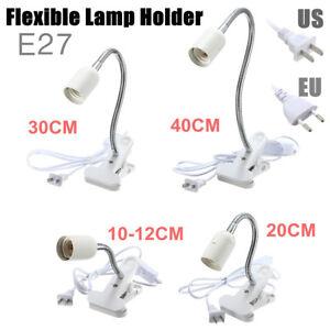 10-40cm-E27-Lampe-Ampoule-Support-Flexible-Clip-Commutateur-Pince-Socket-Douille