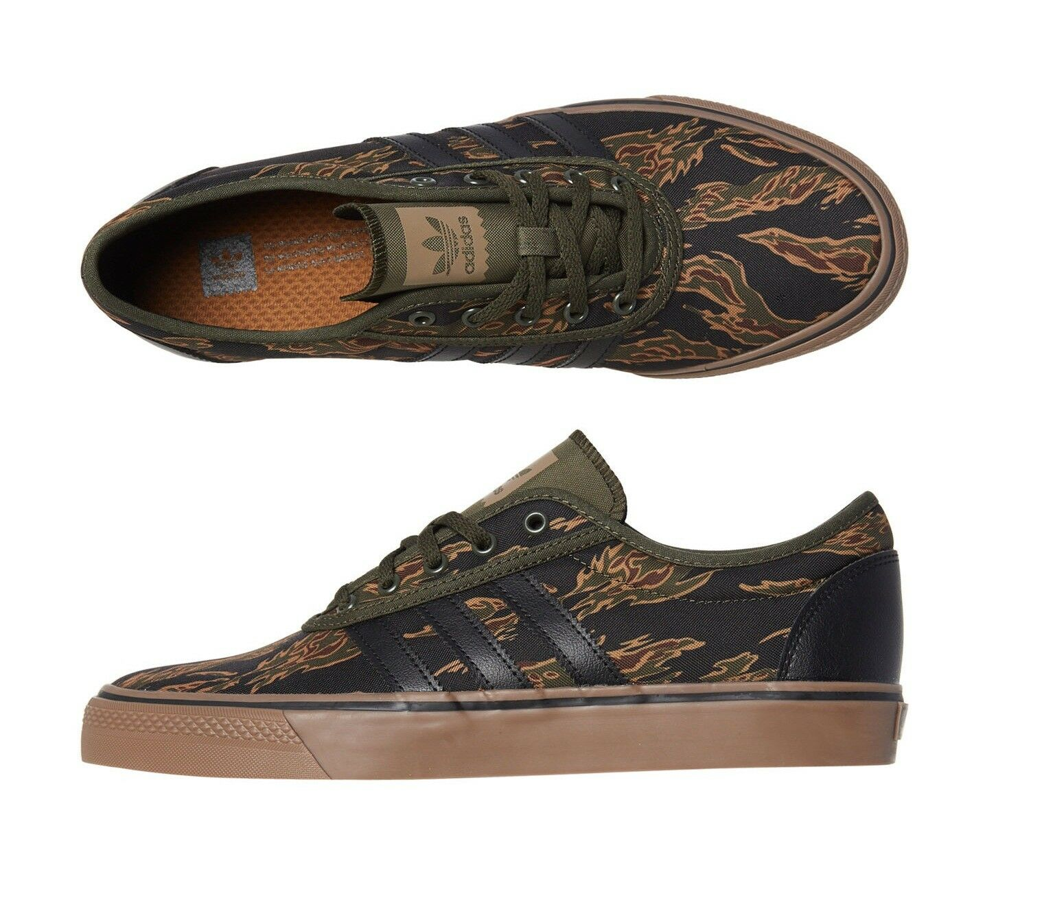 New Size 10.5 Adidas Men's Adi Ease shoes Canvas Green Camouflage Flames Low Top