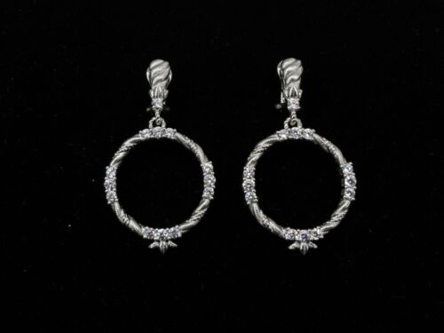 Clip On Drop Hanging Circle Judith Ripka Diamonique Earrings Sterling Silver CZ