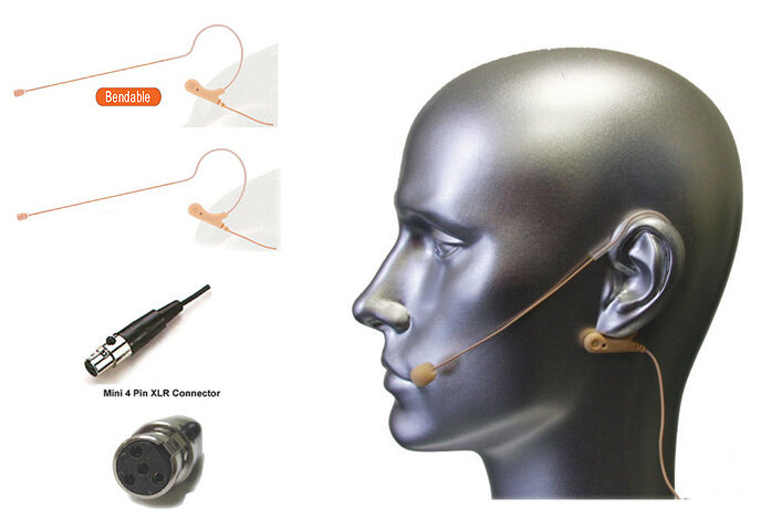 2pcs Tan Farbe Headset Mic Earhook Microphone w TA4F for Shure Wireless System