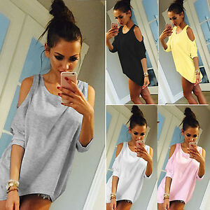 Women-Sexy-Oversized-Jumper-Off-Shoulder-Loose-3-4-Sleeve-Sweatshirt-Tops-Blouse